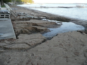 Unprotected shoreline-stormwater runoff